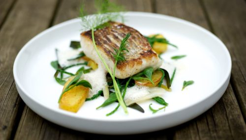 Roast Hake with Turnip, Roast Potato & Lemon Dressing
